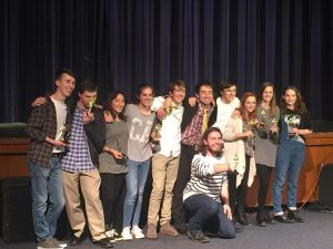 """One Act Play night is a night to celebrate theatrical accomplishments. """"One Acts gives everyone the opportunity to be a part of something they otherwise wouldn't get to be a part of,"""" said sophomore and student director, Cole Cleckner. Pictured is the cast of 'Where's My Phone?"""", Sam Hickman's original play that won """"Best Play"""" on January 8."""